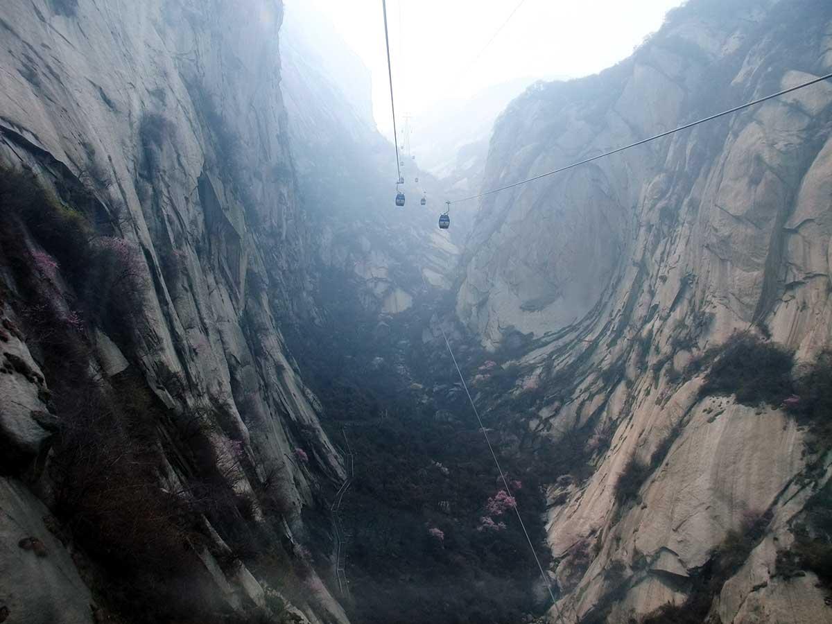 Subida de Huashan pelo teleférico